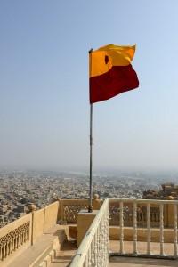 Flaggan på taket och 360 graders vy