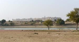 I bakgrunden Jaisalmer Fort