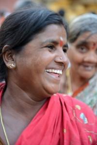 Glad kvinna i Trichy