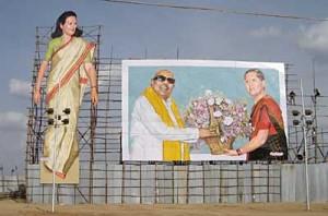 Kongresspartiet med Sonia Gandhi i maxat format